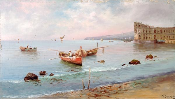 R. Scappa (19th century), The bay of Naples, Oil o