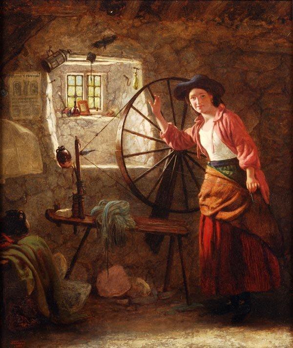 John Templeton Lucas (1836-1880), The Spinning Whe