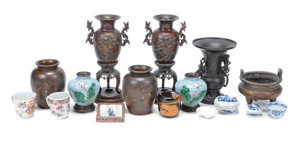 A group of assorted Asian items, mainly 19th centu