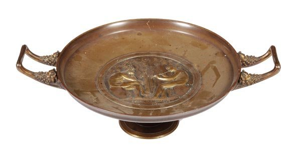 A French gilt bronze tazza in the manner of a Clas