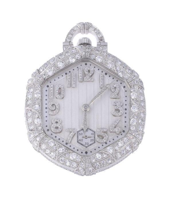 Longines, an Art Deco platinum and diamond pocket