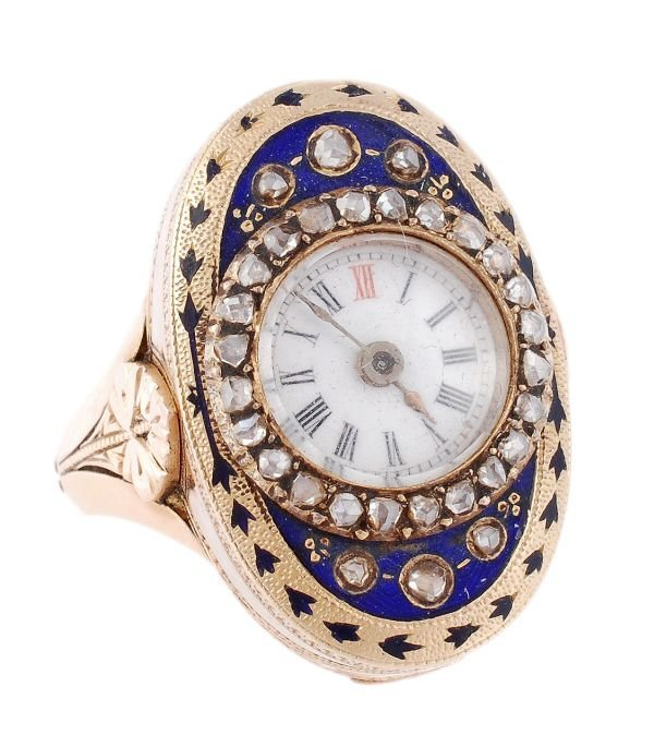 A late 19th century gold, enamel and diamond ring