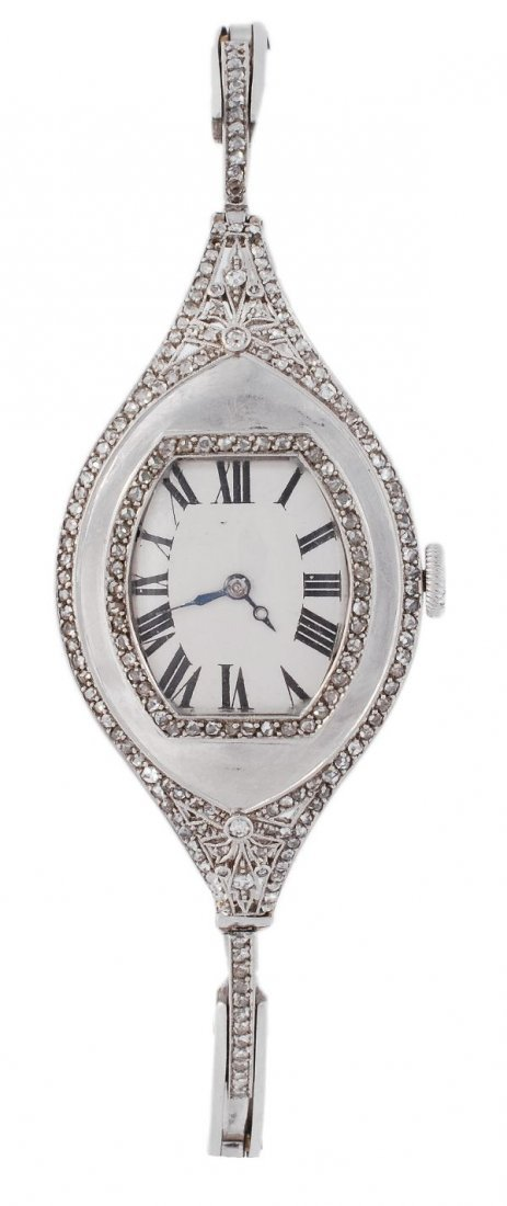A 1920's French diamond cocktail watch, the oval c