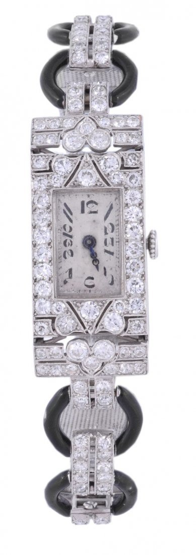 A lady's Art Deco platinum and diamond wristwatch,