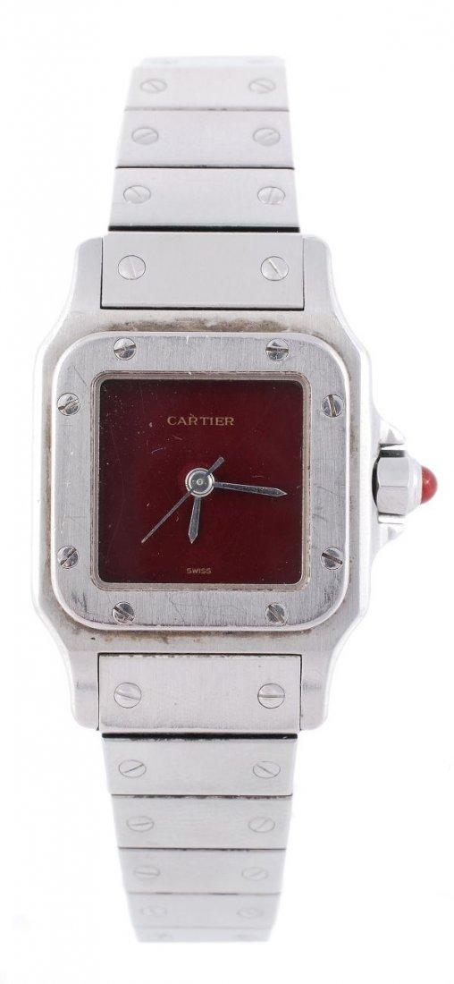 Cartier, Santos, a lady's stainless steel bracelet