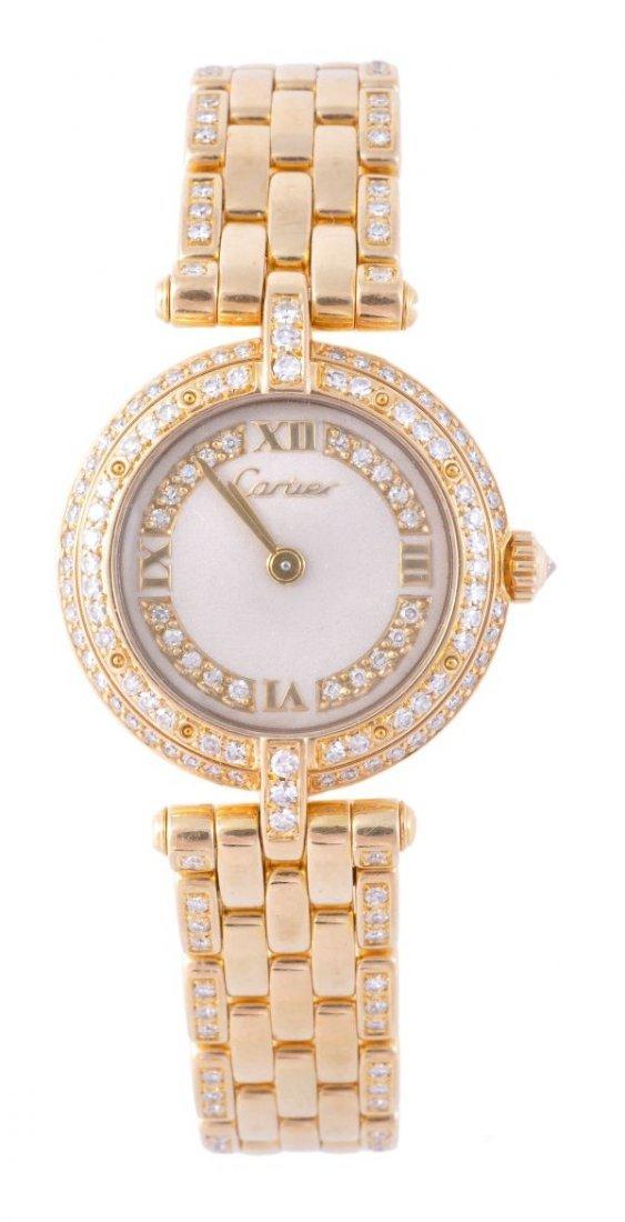 Cartier, a lady's 18 carat gold and diamond wristw