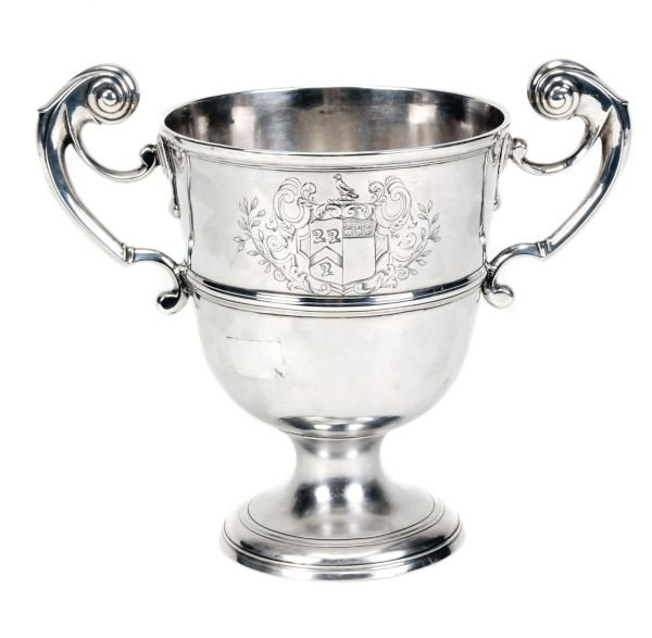 A George II Irish silver twin handled cup by Willi