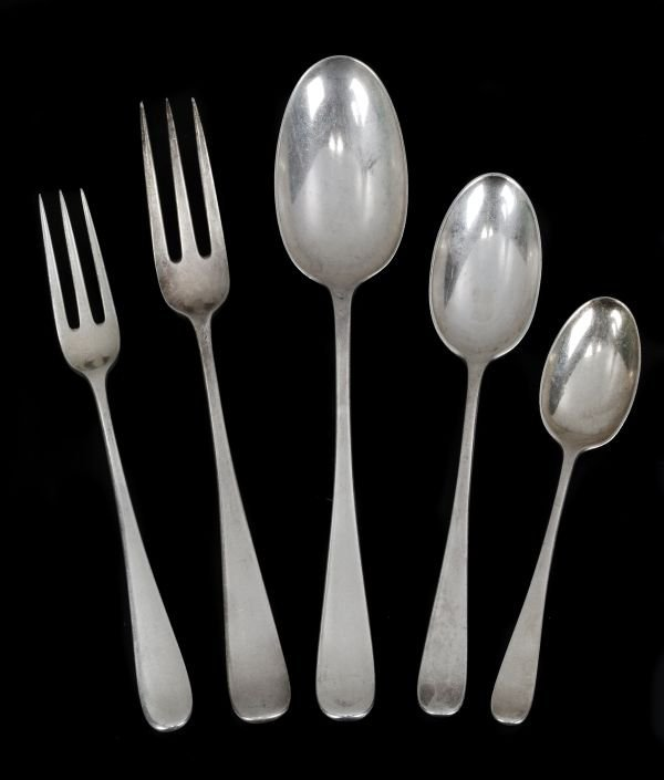 An Edwardian silver Hanoverian pattern part table