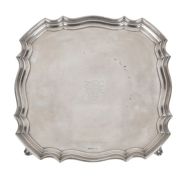A silver shaped square salver by Walker  Hall, She
