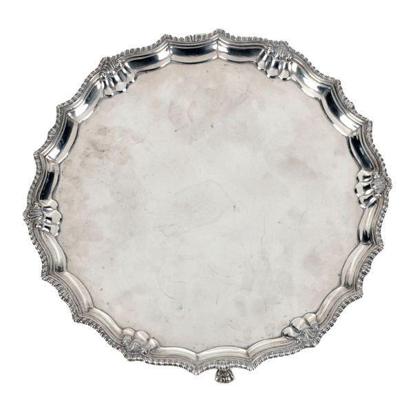 A silver shaped circular salver by Mappin  Webb, B