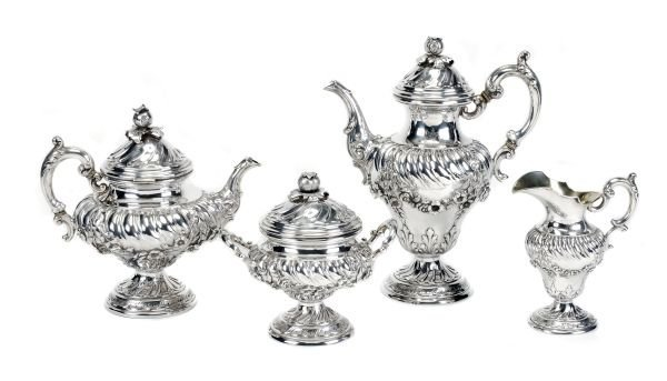 A German silver four piece tea and coffee service