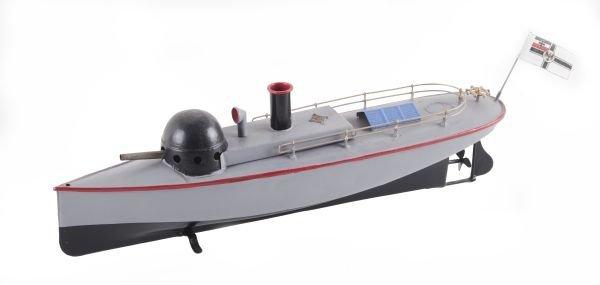A Bing tinplate gun boat, with a clockwork motor,