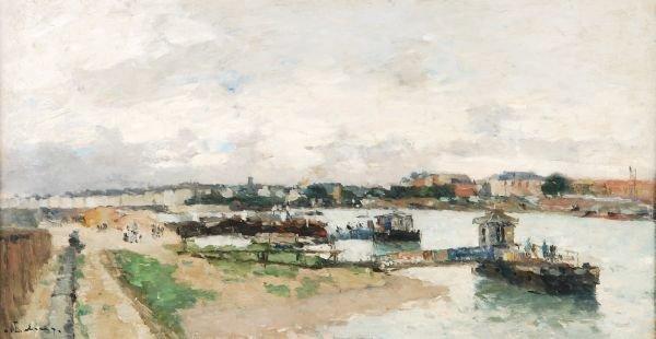 Follower of Jules René HervéContinental river scap
