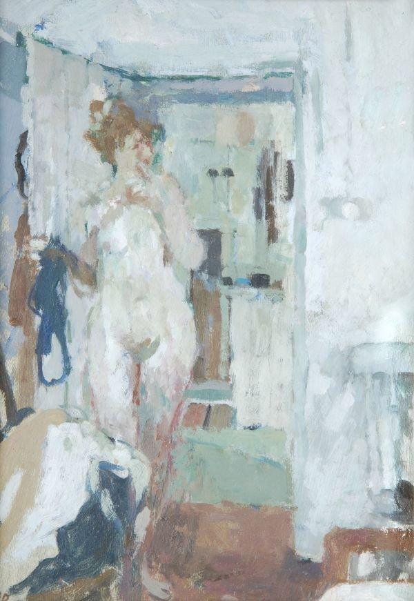 Bernard Dunstan (b.1920)Nude in doorwayOil on boar