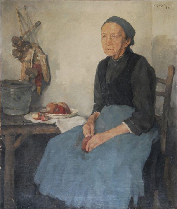 Leopold Hauer (1896-1984)ApfelschalerinOil on canv