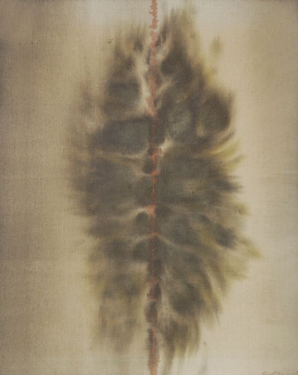 Patrick Scott (b. 1921)Brown formOil on canvasSign