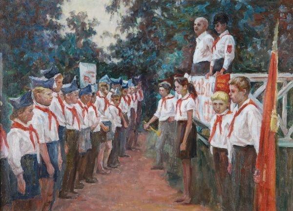 Antonina Dolinina (b.1925)Pioneers rallyOil on can
