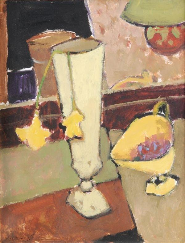 Ken Moroney (b.1949)Still life, yellow flowersOil