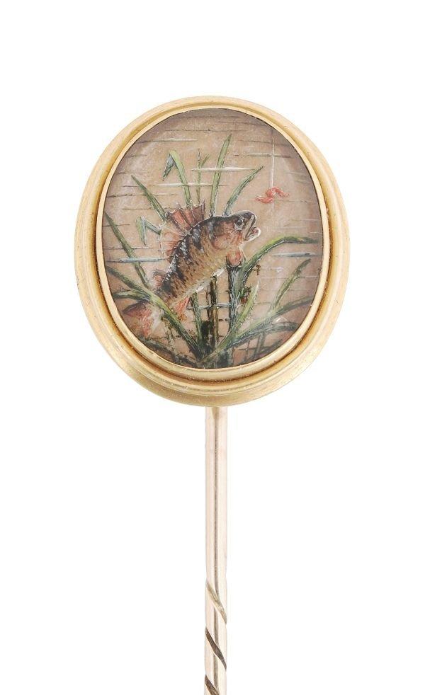 A Victorian reverse crystal intaglio stickpin,  th