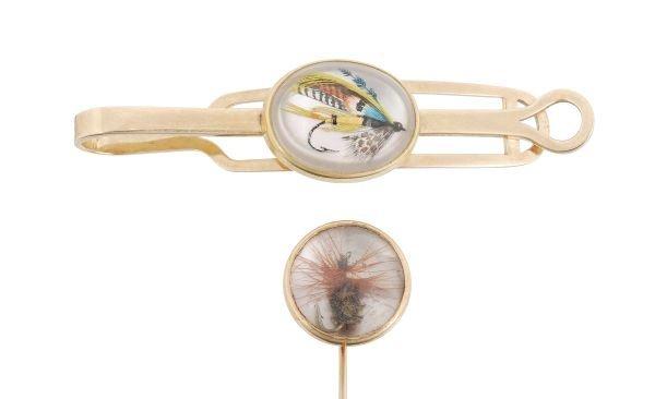 A Victorian reverse crystal intaglio tie pin , the