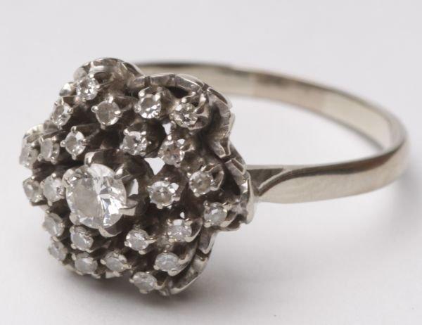 A twenty five stone diamond cluster ring, the cent