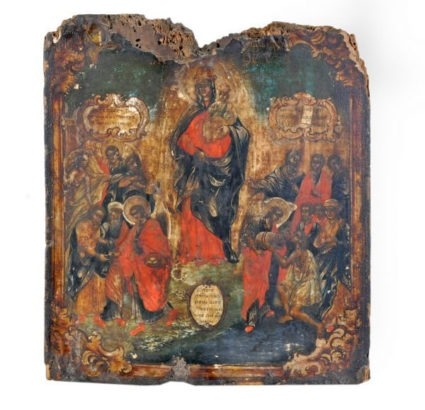 A Russian icon of the Mother of God Comforter of T