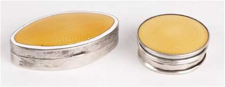 Two silver and yellow guilloche enamel boxes, one
