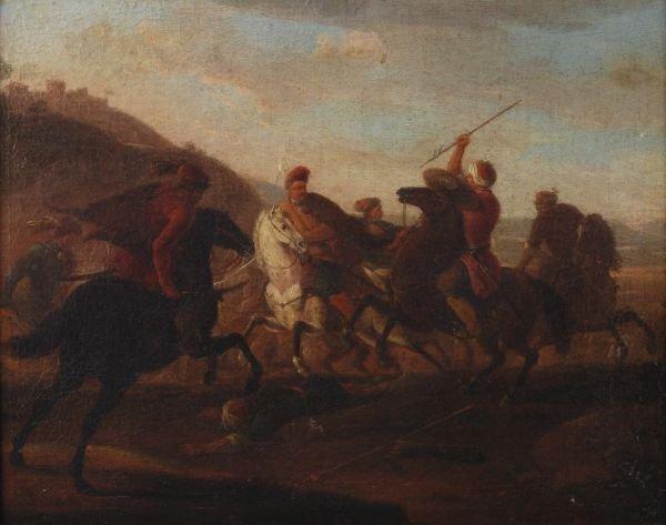 Follower of Georg Philipp Rugendas A cavalry skirm