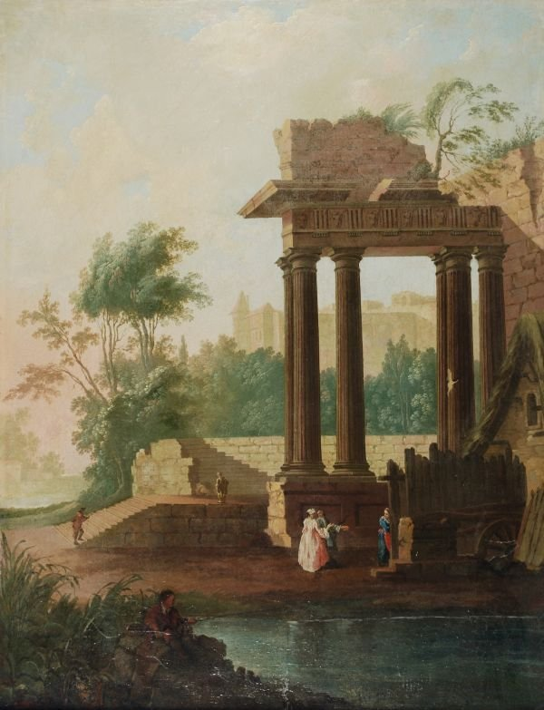 Dutch School (18th century) Figures near Classical