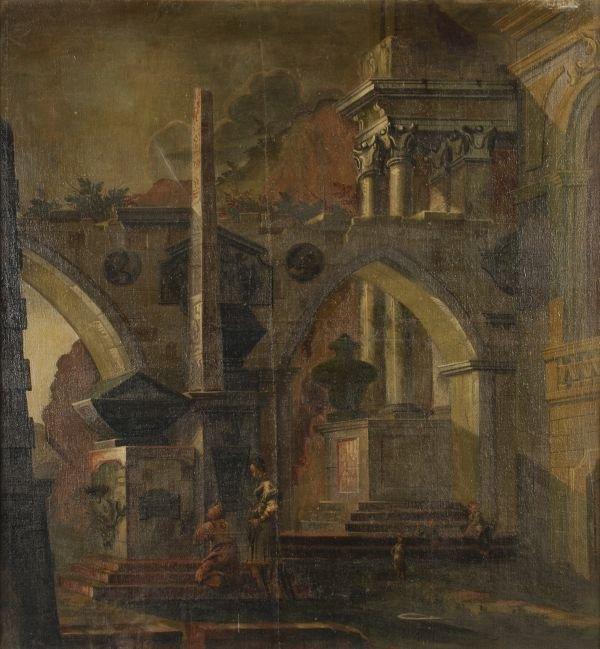 Follower of Hubert Robert An architectural capricc