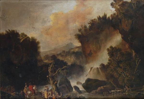 Flemish School (18th century) Travellers resting b