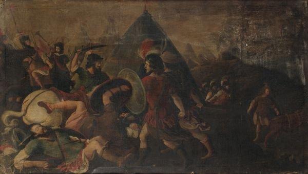 Italian School (18th century) Battle scene Oil on