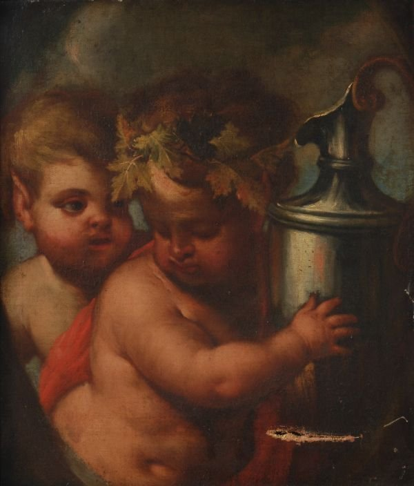 Circle of Guilio Carpioni The infant Bacchus with