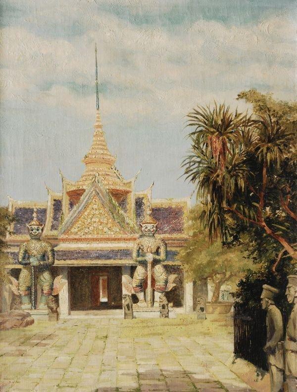 Hugo Vildfred Pedersen (1870-1959) A Temple, Bangk
