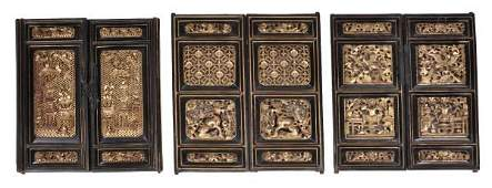 A group of six Chinese lacquered and carved giltwo