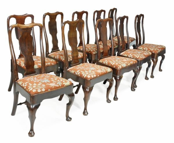 A set of ten George I mahogany side chairs , circa