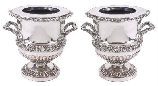 A pair of Regency Old Sheffield plate twin handled