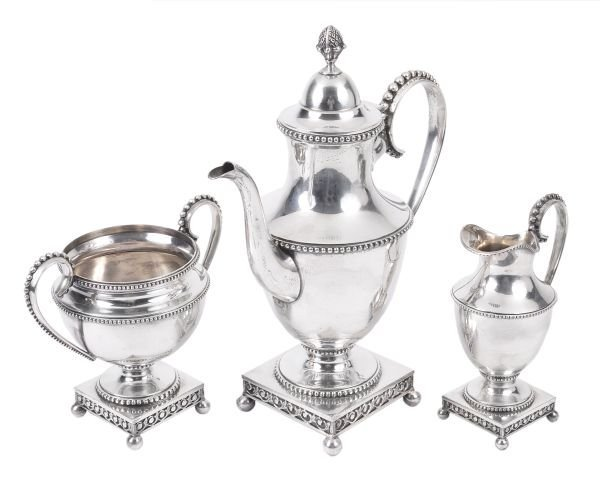 An Austrian electro-plated three piece coffee serv