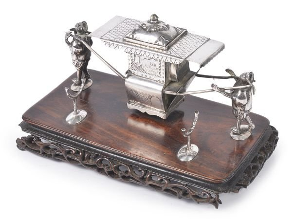 A Chinese export silver novelty inkstand by Wang H