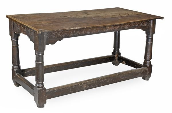 A Charles II oak refectory table,  circa 1660, rec