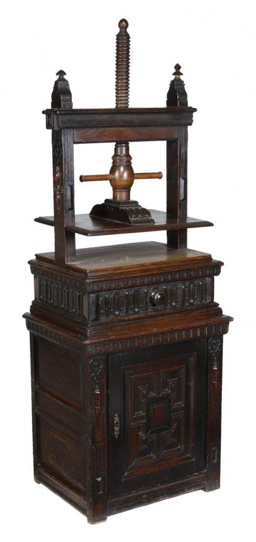 A Charles II oak clothes or book press,  circa 168