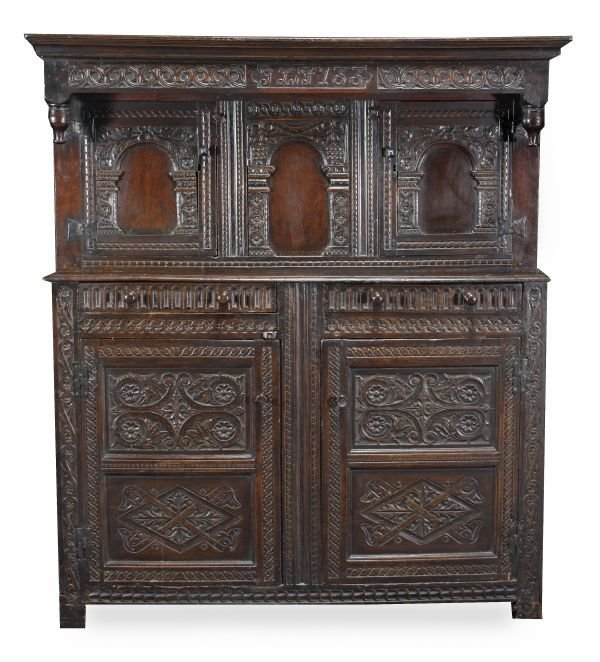An oak press cupboard,  late 17th/ early 18th cent