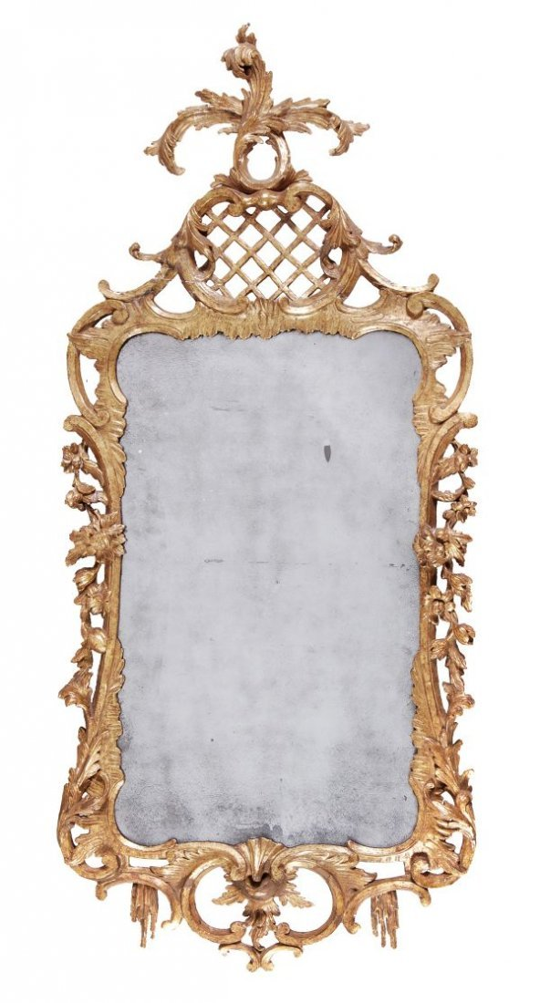 A George II carved giltwood wall mirror,  circa 17