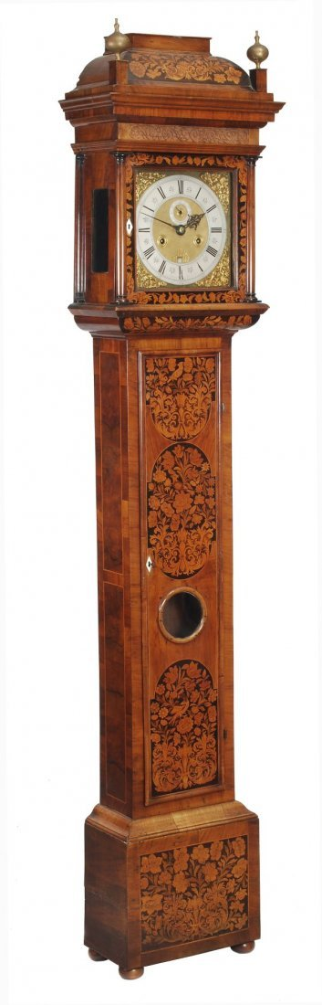 A William III walnut and floral marquetry longcase