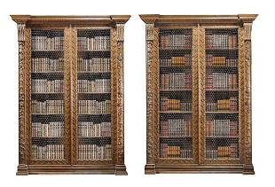 A pair of George III oak bookcases, circa 1780, i