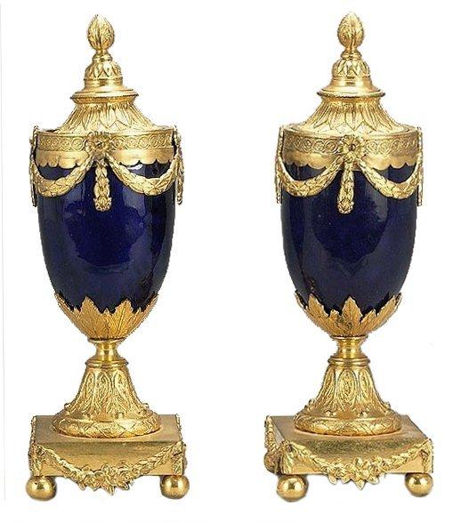 A pair of George III ormolu mounted blue enamelled