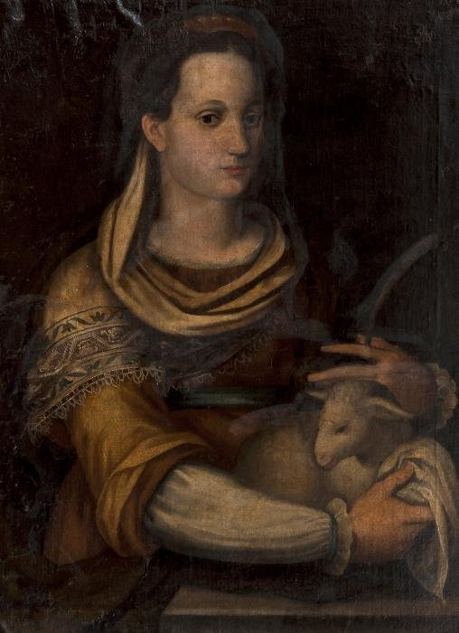 Italian School (16th century) St. Agnes Oil on can