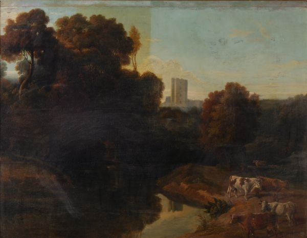 Follower of William Tomkins Wooded river landscape