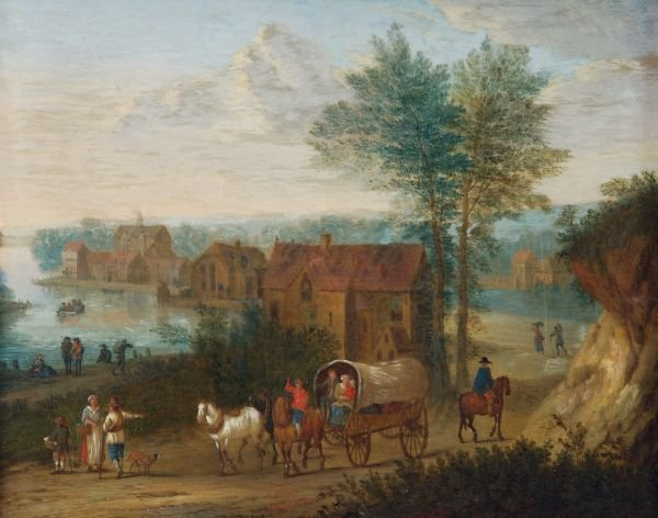 Circle of Joseph van Bredael Figures and carts on