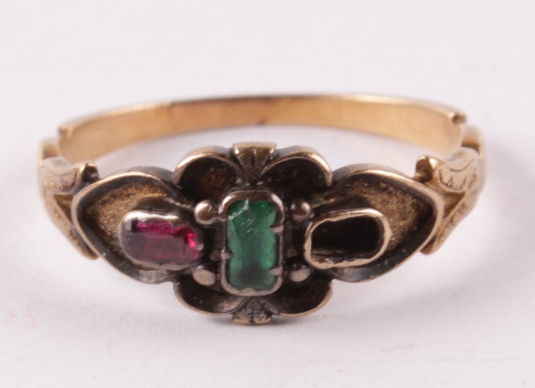 A Victorian stone set ring, with one setting vacan